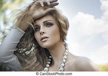 портрет, of, , молодой, блондин, красота