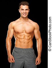 портрет, of, мускулистый, спортивный, человек, постоянный, на, черный