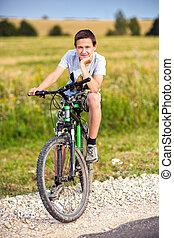 портрет, of, , подросток, на, , велосипед