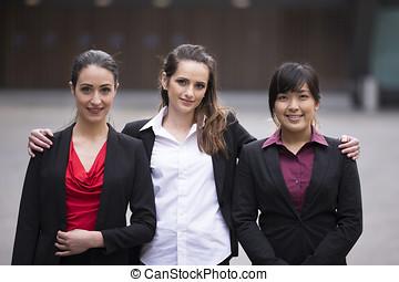 портрет, of, три, бизнес, women.