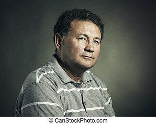 портрет, of, aged, man, закрыть, вверх