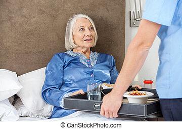порция, мидель, завтрак, женщина, медсестра, старшая