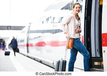 посадка, toned, image), женщина, молодой, поезд, симпатичная...