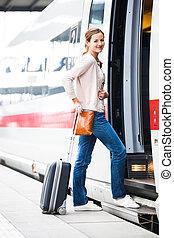посадка, toned, image), женщина, молодой, поезд, симпатичная, (color