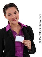 посетитель, женщина, значок, displaying
