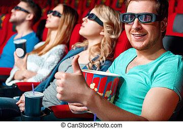 посетитель, показ, класс, кино
