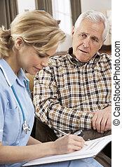 посетитель, talking, здоровье, главная, старшая, человек