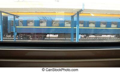 посмотреть, из, поезд, окно