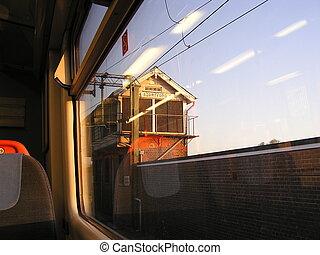 посмотреть, из, поезд