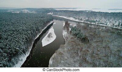 посмотреть, река, антенна, зима, лес