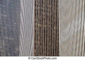 посмотреть, of, солнечный лучик, между, skyscrapers
