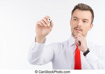 постоянный, вдумчивый, люди, белая доска, isolated, молодой, уверенная в себе, в то время как, businessman., что нибудь, черный, письмо, прозрачный