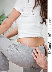 постоянный, женщина, ее, назад, в то время как, massaging, человек