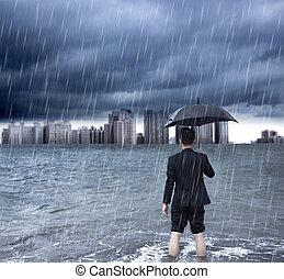 постоянный, зонтик, бизнес, ливень, держа, человек