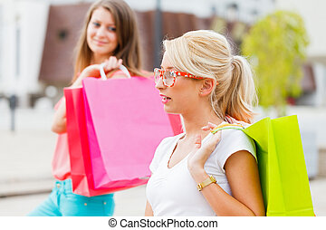 поход по магазинам, заслуженный, enjoying, friends, день, лучший