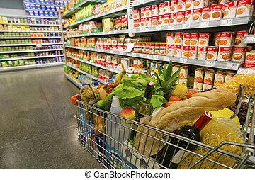 поход по магазинам, тележка, в, , супермаркет