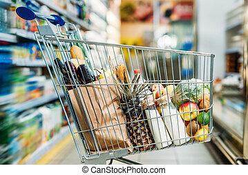 поход по магазинам, тележка, with, purchases, в, супермаркет