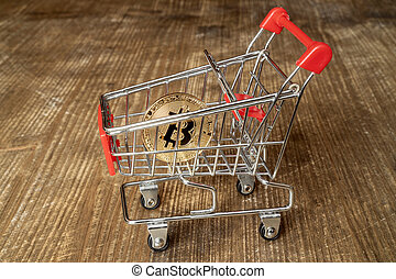 поход по магазинам, bitcoin, тележка