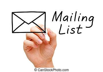 почтовое отправление, список, концепция