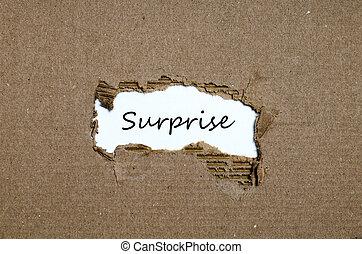 появляясь, порванный, за, бумага, сюрприз, слово