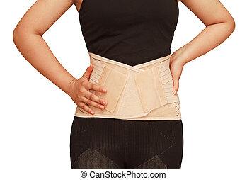 поясничный, braces, поддержка, для, назад, truma, или, мышца, назад, напряжение, isolated, задний план