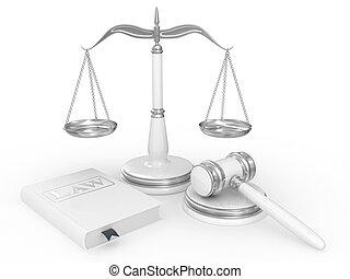 правовой, молоток, scales, and, закон, книга