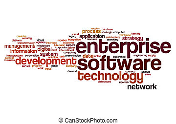 предприятие, программного обеспечения, слово, облако