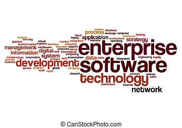предприятие, слово, облако, программного обеспечения