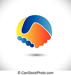 представлять, концепция, люди, shake., партнерство, &, -,...