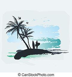 прибой, пальма, дерево