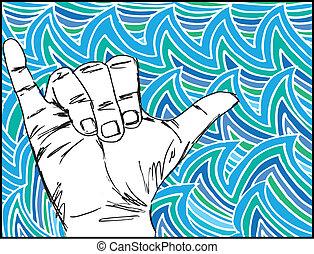 прибой, эскиз, вектор, hand., иллюстрация