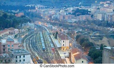 прибытие, of, поезд, в, tivoli., италия