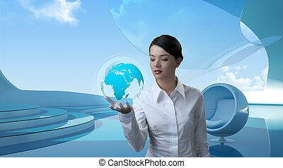 привлекательный, брюнетка, with, земной шар, в, будущее