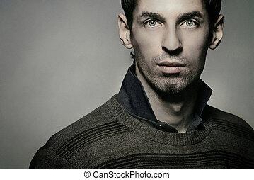 привлекательный, красивый, молодой, человек