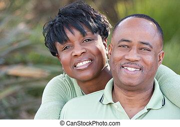 привлекательный, счастливый, африканец, американская, пара