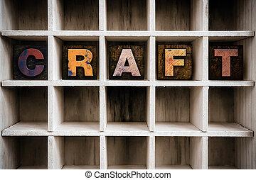 привлечь, концепция, типографской, деревянный, ремесло, тип