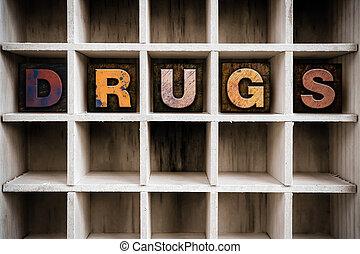 привлечь, концепция, типографской, drugs, деревянный, тип