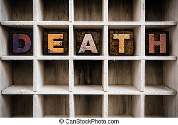 привлечь, смерть, типографской, деревянный, концепция, тип