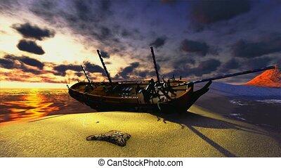 призрак, корабль, пират