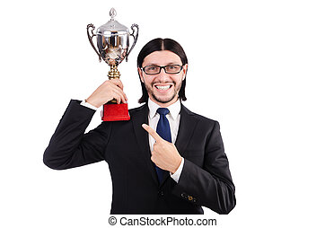 приз, кружка, isolated, награжден, бизнесмен, белый