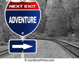 приключение, дорога, знак