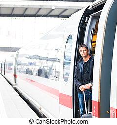 принятие, -, молодой, поезд, человек, путешествовать, ...
