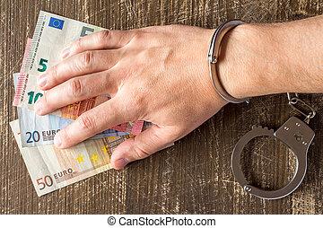 принятие, наручники, рука, euros