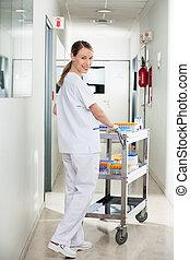 прихожая, медицинская, pushing, тележка, техник, больница