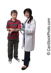 проверить, медицинская, врач, ребенок