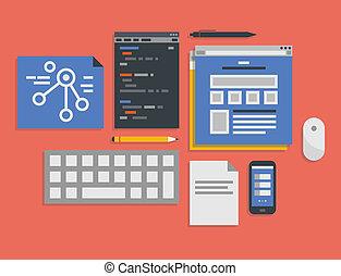 программирование, and, web, разработка, обработать, иллюстрация