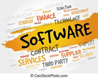 программного обеспечения, слово, облако