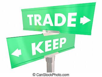 продавать, держать, vs, два, иллюстрация, держать, улица, путь, знаки, 2, сделка, или, 3d