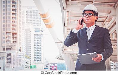 проект, бизнесмен, планирование, строительство
