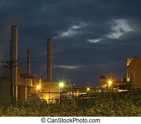 промышленность, в, ночь